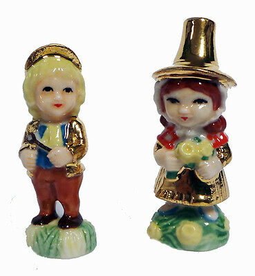 Wade English Boy and Welsh Girl Gold Decoration Whimsie Child Studies