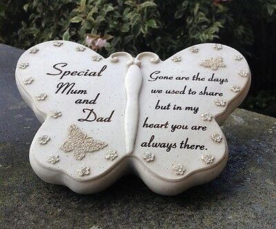 Memorial For Mum & Dad Butterfly Shaped Grave Funeral Ornament
