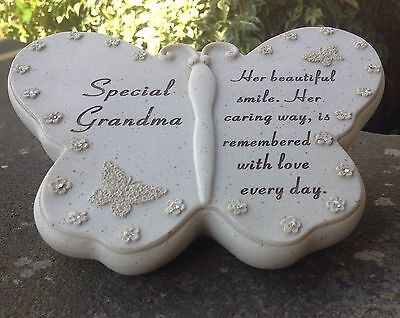Memorial For Special Grandma Butterfly Shaped Grave Ornament Funeral Tribute