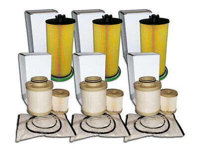 3 Oil Filters & 3 Fuel Filter Sets For Ford 6.0L Turbo - Replaces Fd4604