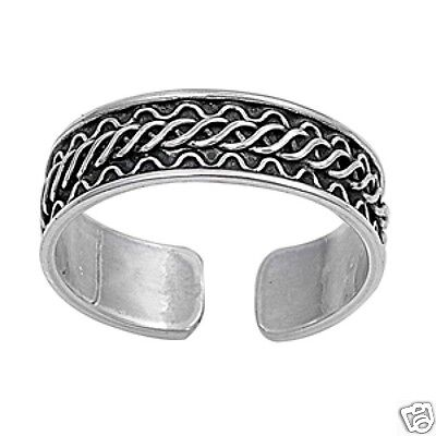 Adjustable Bali Design Toe Ring Sterling Silver 925 Fashion Band Jewelry Gift