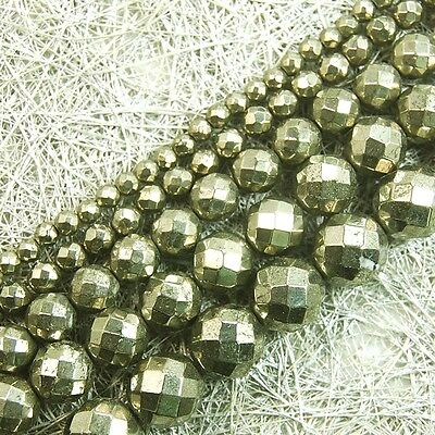 Natural Beautiful Iron Pyrite round faceted loose Beads 15'' 2mm 4mm 6mm 8mm 10m
