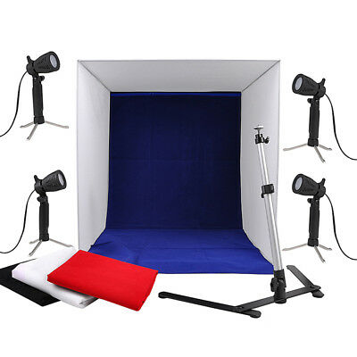 "16"" Photo Studio Photography Light Tent Cube Box Softbox Lighting 4 Backdrop Kit"