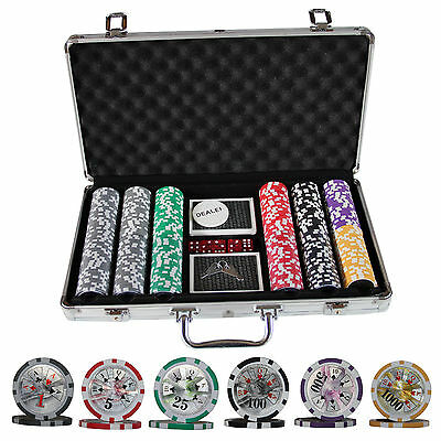 300 Ben Franklin Casino Table Poker Chips Set w/ Cards