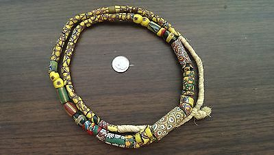 "Strand 32"" antique venetian beads, african trade bead necklace, king millefiori"