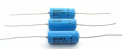 10uF 250V Axial Lead Electrolytic Capacitor:  Vintage Radios, Amps, Etc. 3/Lot