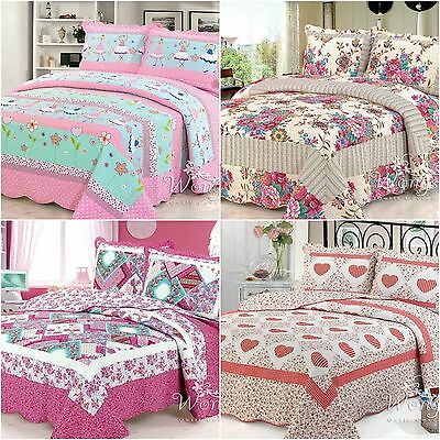 Floral Patchwork Quilted Coverlet Bedspreads Set Queen Size Blanket Throw Rug