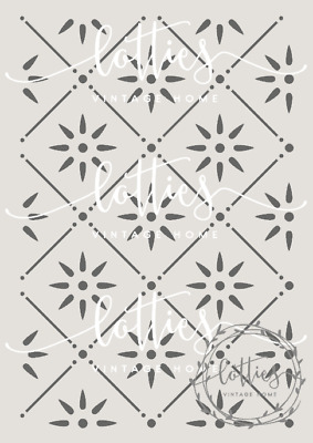 A4 Stencil VICTORIAN TILE PATTERN Fabric Furniture Vintage Shabby Chic 190 MYLAR