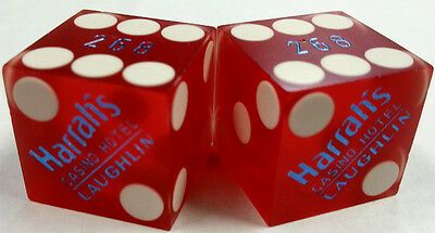 Casino Dice - Harrah's Hotel Pair Used Matched Dice Laughlin Nv - Free Shipping*