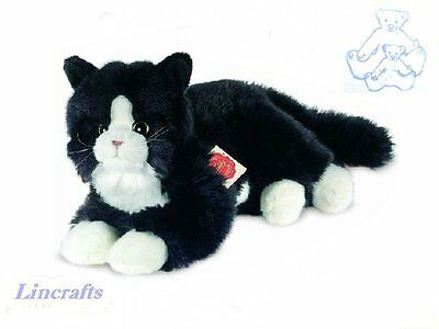 Lying Black/White Cat  Plush Soft Toy Kitten by Teddy Hermann Collection. 90679