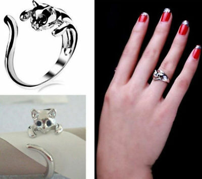 New Fashion Women Lovely Silver Plated Black Crystal Eye Kitten Cat Animal Ring