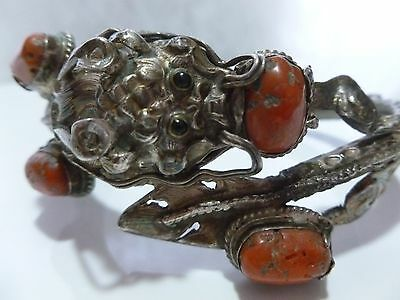 #36 Antique Vintage Oriental Chinese Sterling Silver Coral Dragon Bracelet