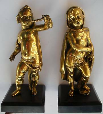 Rare 19Th Century 2 Gilt Bronze Child Neptune & Hercules Child Putti Statuettes!