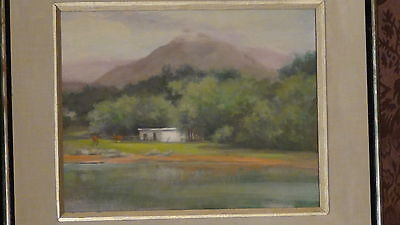 Judith Ann Deegan (Usa) Oil Painting On Canvas W/ Pond,horses ,mountain ,signed