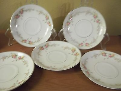 H3 Harker Pottery chic ivory china Vintage yellow pink rose pattern 5 SAUCERS