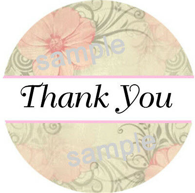 Thank You Stickers ~ Pink Flower Print   #65  ~  1 Inch Labels