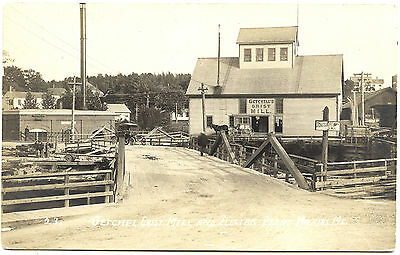 Machias ME Street View Grist Mill Electric Plant Bridge RPPC Real Photo Postcard