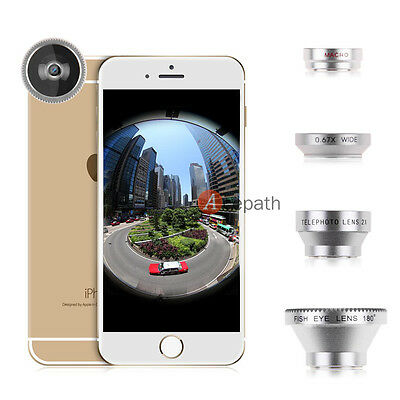 Magnetic 4in1 Fisheye + Wide Angle + Macro + Telephoto Lens for iPhone 5S 6 Plus