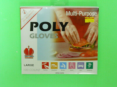*NEW* Food Service Poly Gloves - 100 count. box - USDA Approved - Size Large
