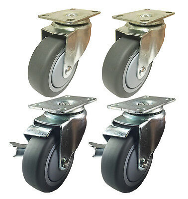 """4"""" x 1-1/4"""" Non Marking Rubber Wheel Casters (A1) - 4 Swivels with 2 Brakes (F)"""