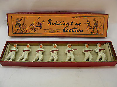 BARCLAY MANOIL TOY SOLDIERS FIGURES SET  LOT 7 SKIER IN WHITE w BRITAINS BOX
