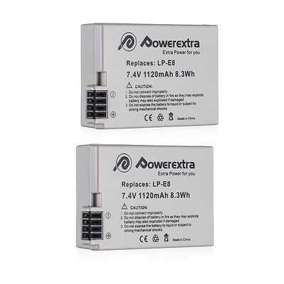 2x LP-E8 Replacement Battery For Canon EOS 550D 600D 650D Rebel T2i T3i T4i T5i