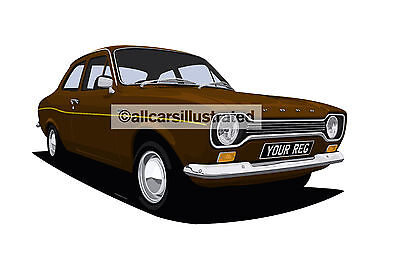 Ford Escort Mk1 Car Art Print Picture (Size A4). Personalise It!
