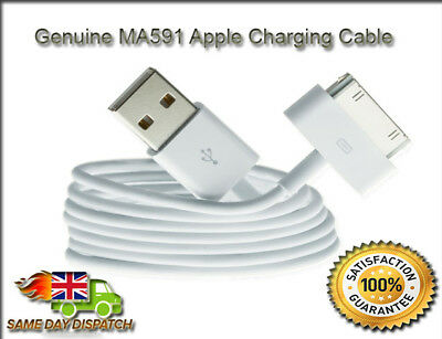 100% Genuine Apple iPad 1 2 3 & iPhone 3GS 4 4S iPod Charger USB Lead Sync Cable