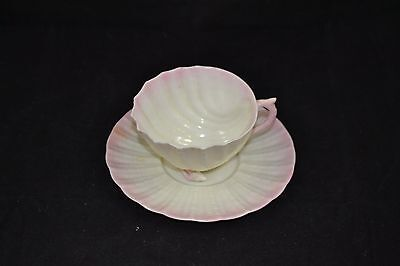 Belleek Cup and Saucer Shell Neptune Pink Shell Feet Fourth Mark 1940-1955