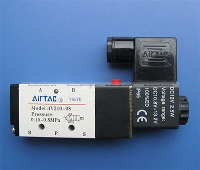 """5 Way 2 Position Air Pneumatic Solenoid Valve Control 1/4"""" DC 12V New 90014084"""