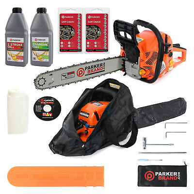 "62cc 20"" Petrol Chainsaw + 2 x Chains + Oil + More"