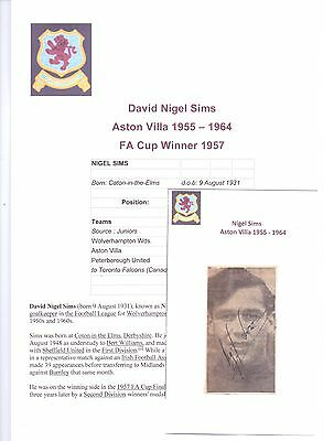 Nigel Sims Aston Villa 1955-1964 Original Hand Signed Picture Cutting