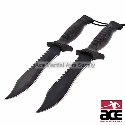 """2 x 12"""" TACTICAL COMBAT SURVIVAL HUNTING KNIFE SHEATH MILITARY Bowie Fixed Blade"""