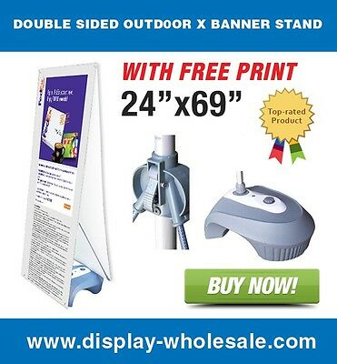 "Double Sided Outdoor X Banner Stand with Water Fill Base and(2) 24"" x 69"" Prints"