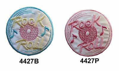 Pink,Blue Lost In The 50s Rock Roll Embroidery Iron On Applique Patch