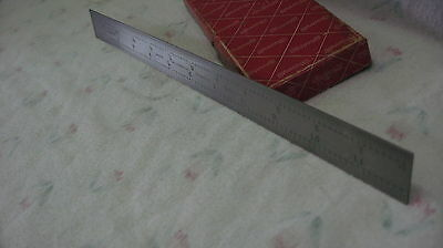 Starrett No. 1604R stainless tempered steel 12 inch rule, 4 grad       (ref#382)