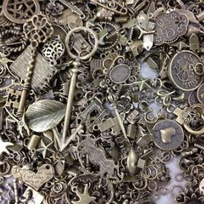 120g Antique Bronze Mixed Mostly Small Parts With Craft Collet Pandants Charms