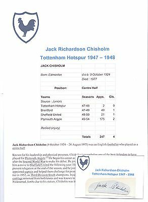 Jack Chisholm Tottenham Hotspur 1947-1948 Rare Original Hand Signed Cutting/Card