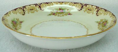 """NORITAKE china N376 Rust/Red Scrolls & Floral Vases COUPE SOUP SALAD BOWL 7-3/8"""""""