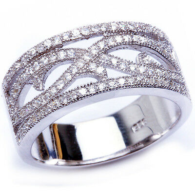 ANTIQUE STYLE Round CZ Filigree Wedding band .925 Sterling Silver Ring sizes 6-9