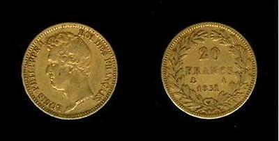 1831 A Gold France 20 Franc Louis Philippe I
