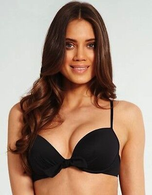 Lepel Swimwear Padded Push Up Bow Bikini Top 1356600 BLACK BNWT Sizes 32A-38B