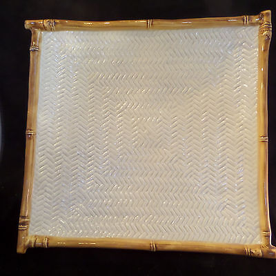 "Andrea By Sadek Chopsticks Platter 13"" Cream Color Weave Bamboo Edge Sushi"