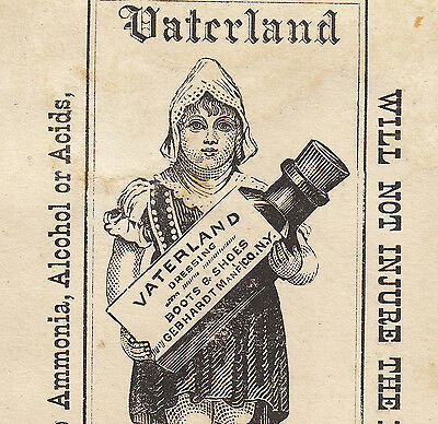 Ethnic NY Shoe Polish Boot Dressing Vaterland Gebhardt Co Advertising Trade Card