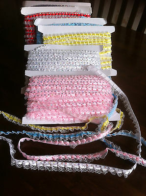 Bonnet Lace Sequin trim 14 mil wide assorted colours £1.50 meter free pp fab.