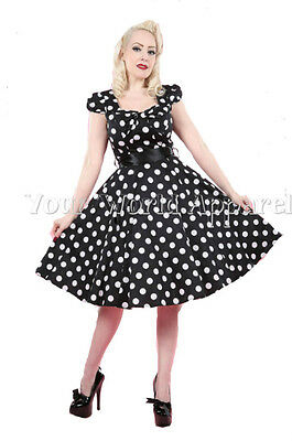 7520fd849e H&R LONDON BLACK BIG WHITE POLKA DOT SWING 1950's HOUSEWIFE DRESS VINTAGE  6690