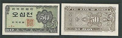 1962 SOUTH KOREA CURRENCY 50 JEON UNC Catalog # P29