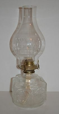Lamplight Farms Clear Glass Oil Lamp Vintage New Wick Etched White Design