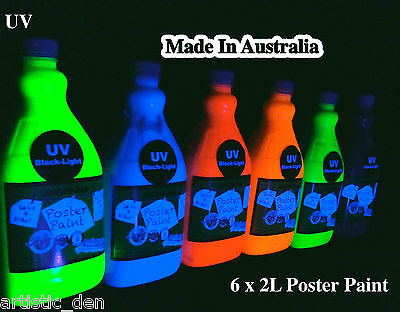 UV Glow Neon Kids Paint Neon Poster Paint Set  Kindy Paint 6 X 2L   Artistic Den