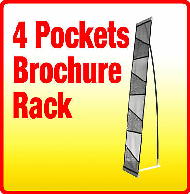 4 Pocket Literature Magazine Catalog Brochure Rack Holder Portable Trade Show